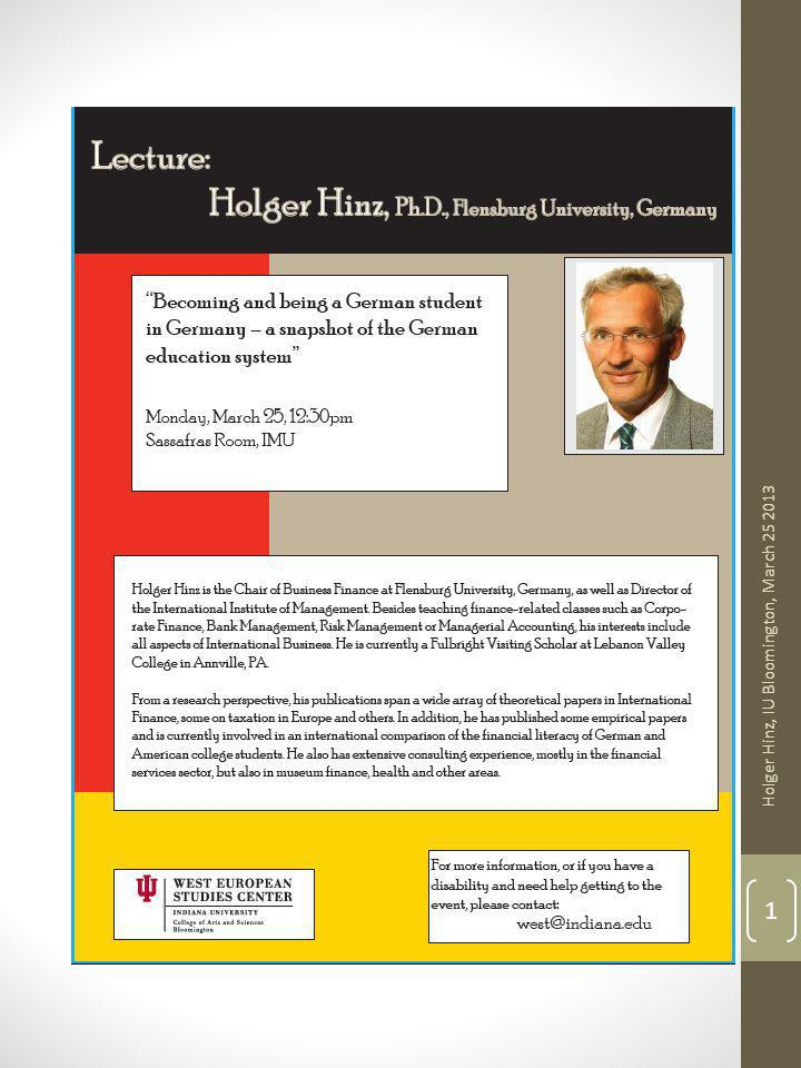 Holger Hinz, Bloomington, In 3-25-2013 Holger Hinz, IU Bloomington, March 25 2013 1