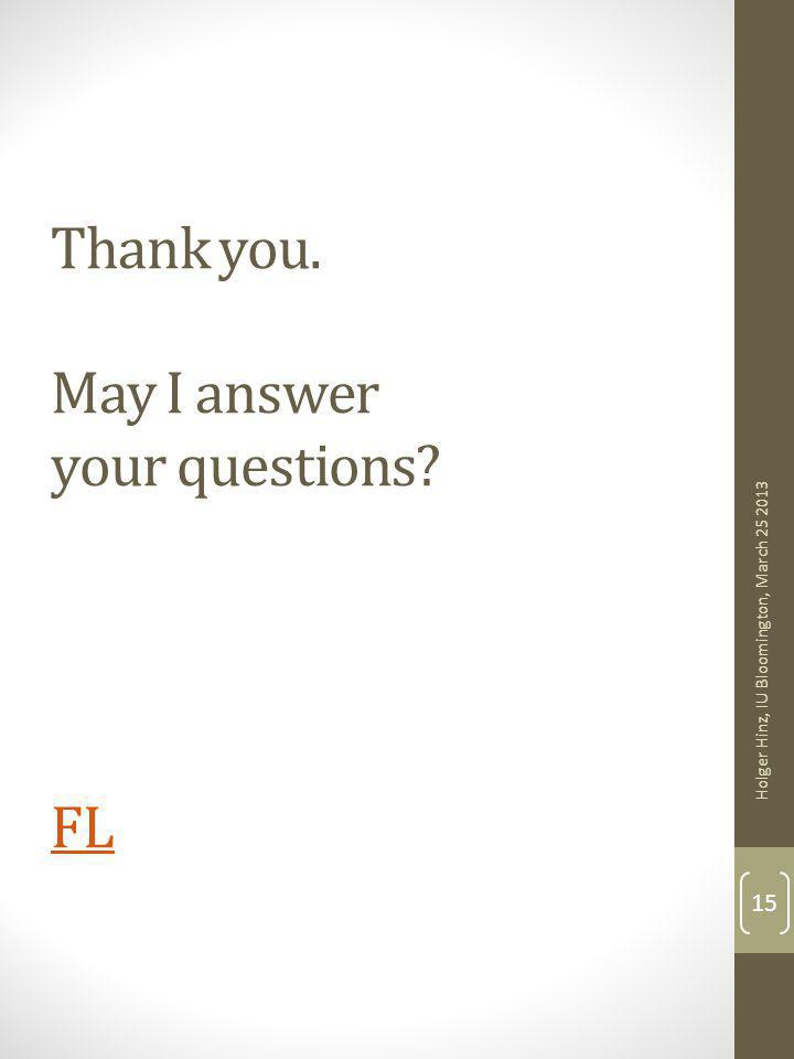 Thank you. May I answer your questions FL FL Holger Hinz, IU Bloomington, March 25 2013 15