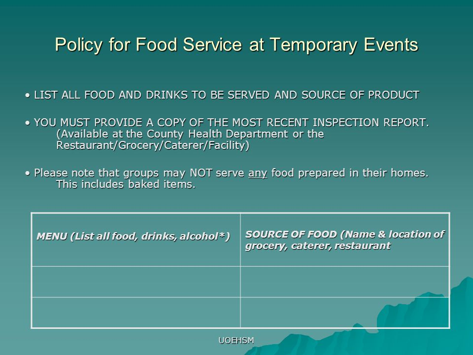 UOEHSM Policy for Food Service at Temporary Events LIST ALL FOOD AND DRINKS TO BE SERVED AND SOURCE OF PRODUCT LIST ALL FOOD AND DRINKS TO BE SERVED AND SOURCE OF PRODUCT YOU MUST PROVIDE A COPY OF THE MOST RECENT INSPECTION REPORT.
