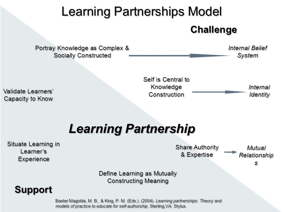Learning Partnership Validate Learners' Capacity to Know Portray Knowledge as Complex & Socially Constructed Self is Central to Knowledge Construction Share Authority & Expertise Situate Learning in Learner's Experience Define Learning as Mutually Constructing Meaning Challenge Support Internal Belief System Internal Identity Mutual Relationship s Learning Partnerships Model Baxter Magolda, M.