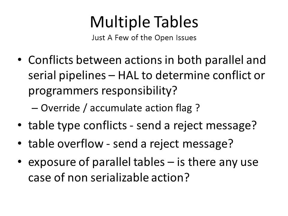 Multiple Tables Just A Few of the Open Issues Conflicts between actions in both parallel and serial pipelines – HAL to determine conflict or programmers responsibility.