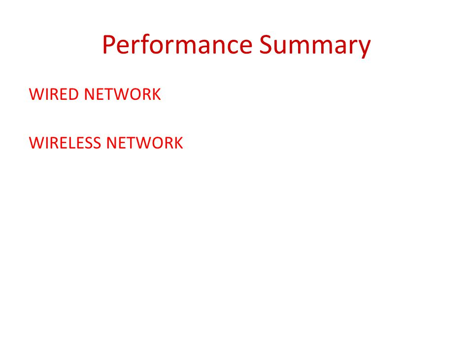 Performance Summary WIRED NETWORK WIRELESS NETWORK