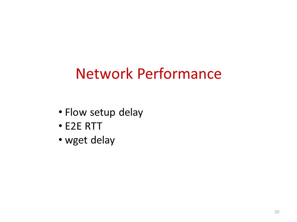 Network Performance Flow setup delay E2E RTT wget delay 30