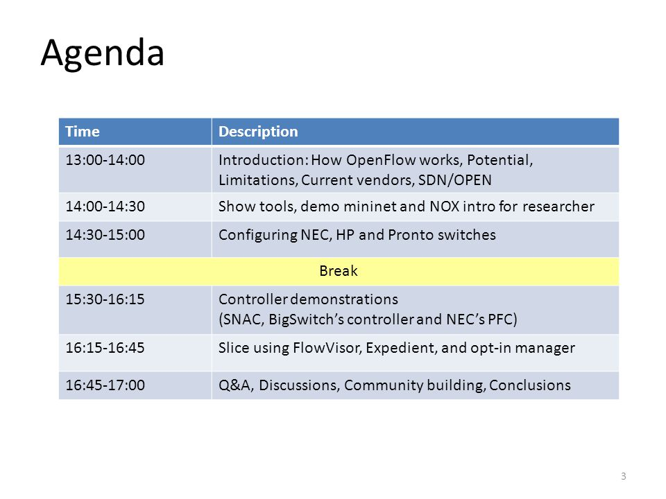 Agenda TimeDescription 13:00-14:00Introduction: How OpenFlow works, Potential, Limitations, Current vendors, SDN/OPEN 14:00-14:30Show tools, demo mininet and NOX intro for researcher 14:30-15:00Configuring NEC, HP and Pronto switches Break 15:30-16:15Controller demonstrations (SNAC, BigSwitch's controller and NEC's PFC) 16:15-16:45Slice using FlowVisor, Expedient, and opt-in manager 16:45-17:00Q&A, Discussions, Community building, Conclusions 3