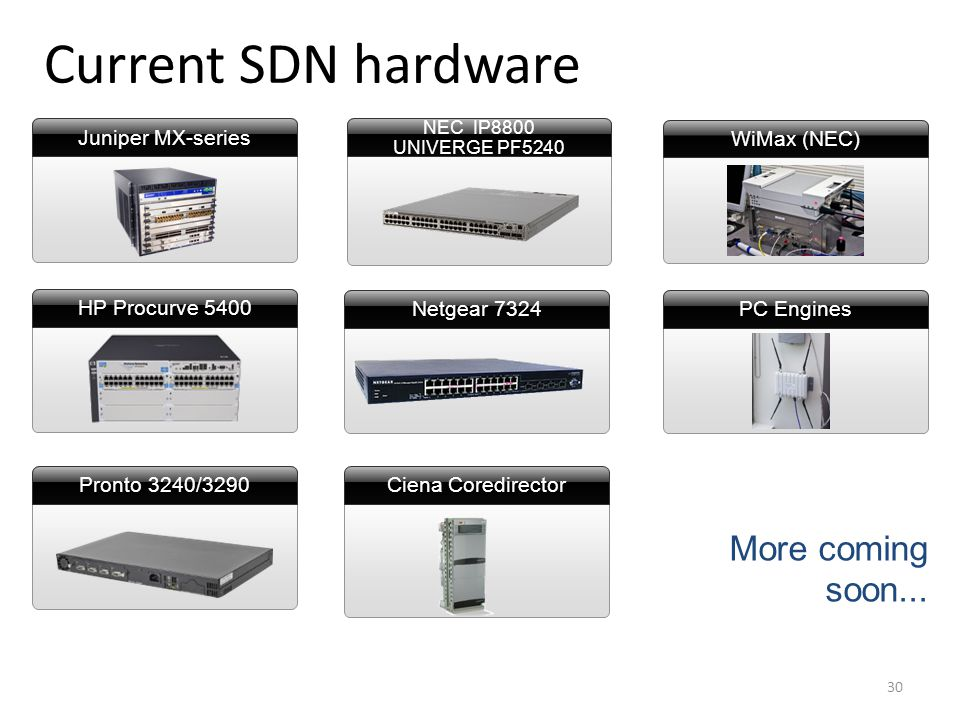 Ciena Coredirector NEC IP8800 UNIVERGE PF5240 Current SDN hardware More coming soon...