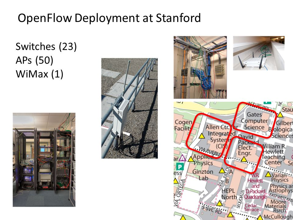 OpenFlow Deployment at Stanford 51 Switches (23) APs (50) WiMax (1)