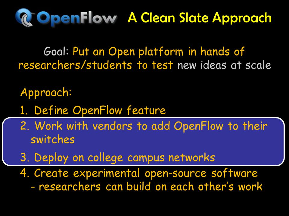 A Clean Slate Approach 18 Goal: Put an Open platform in hands of researchers/students to test new ideas at scale Approach: 1.
