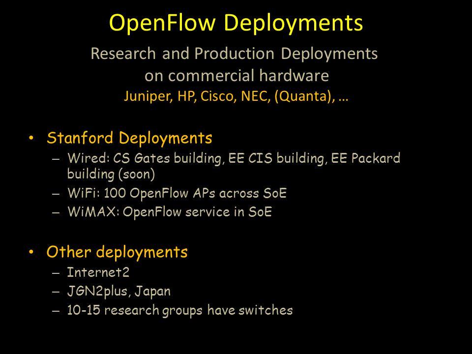 OpenFlow Deployments Stanford Deployments – Wired: CS Gates building, EE CIS building, EE Packard building (soon) – WiFi: 100 OpenFlow APs across SoE