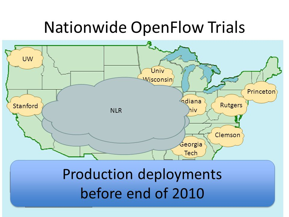 UW Stanford Univ Wisconsin Indiana Univ Rutgers Princeton Clemson Georgia Tech Internet2 NLR Nationwide OpenFlow Trials Production deployments before end of 2010 Production deployments before end of 2010