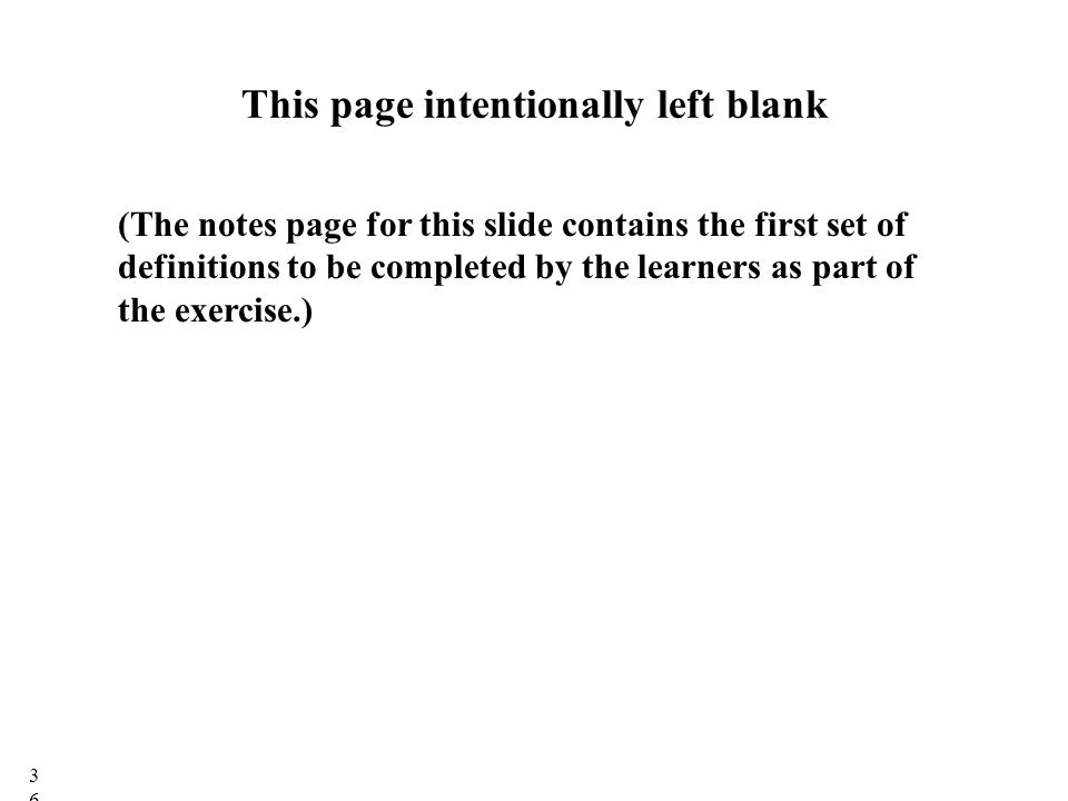 This page intentionally left blank (The notes page for this slide contains the first set of definitions to be completed by the learners as part of the exercise.) 36