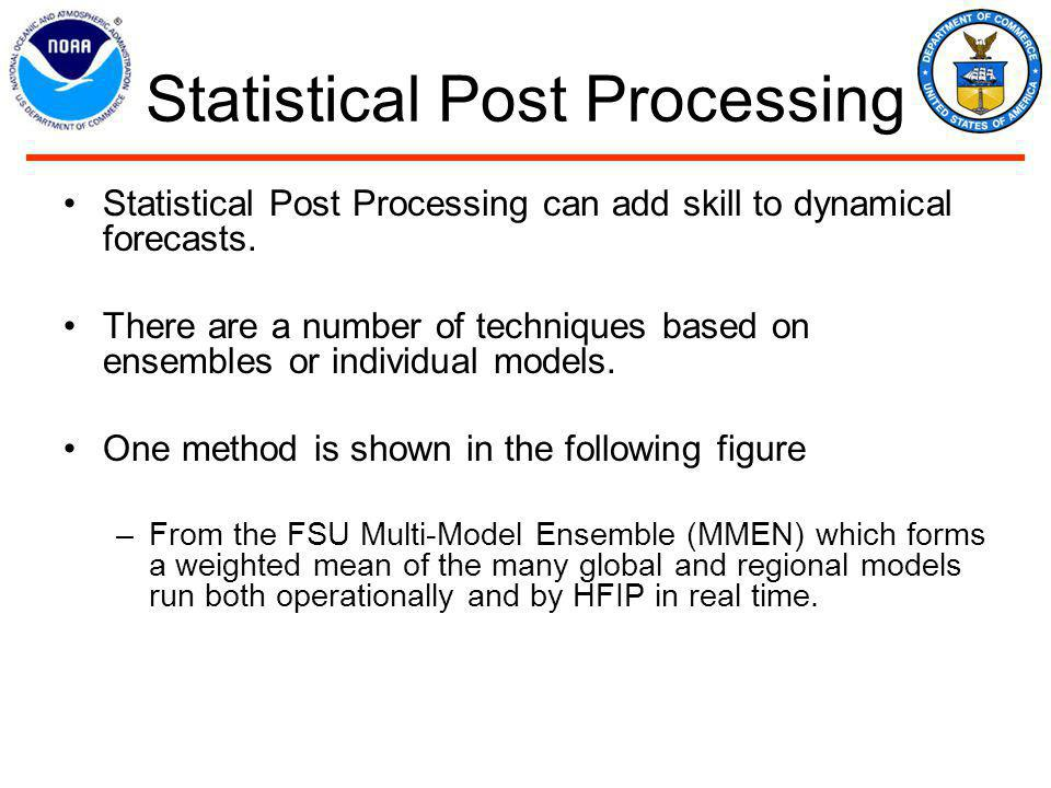 Statistical Post Processing Statistical Post Processing can add skill to dynamical forecasts.