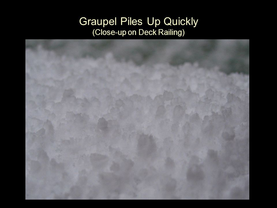 Graupel Piles Up Quickly (Close-up on Deck Railing)