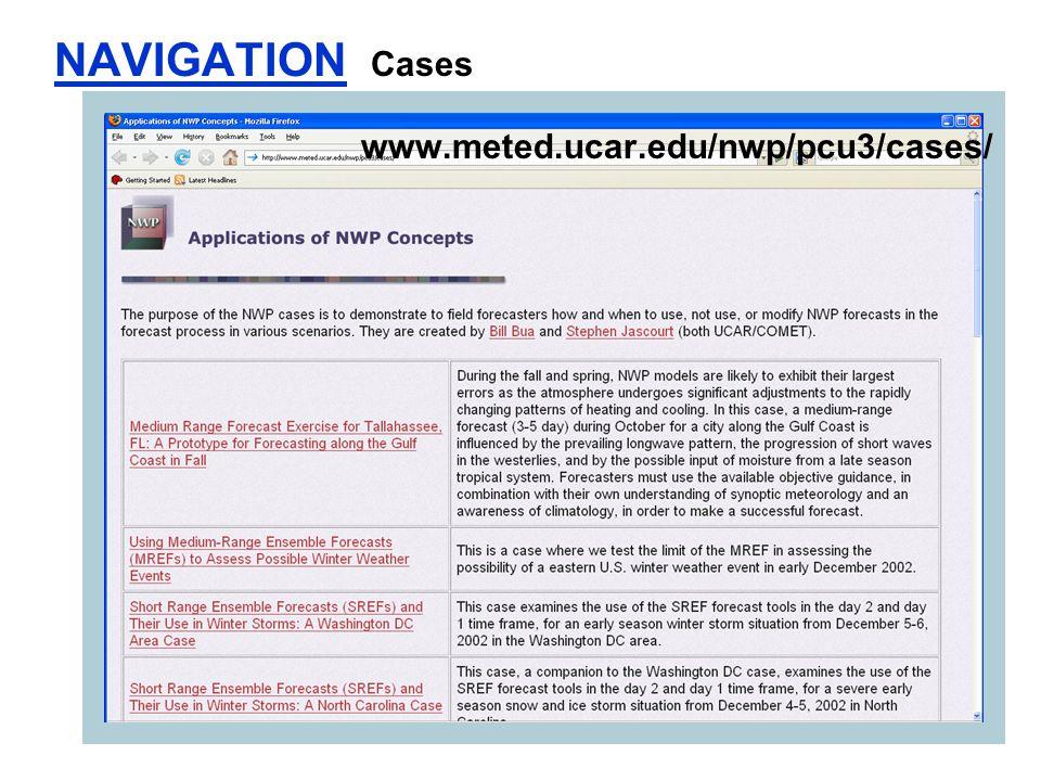NAVIGATION Cases www.meted.ucar.edu/nwp/pcu3/cases/