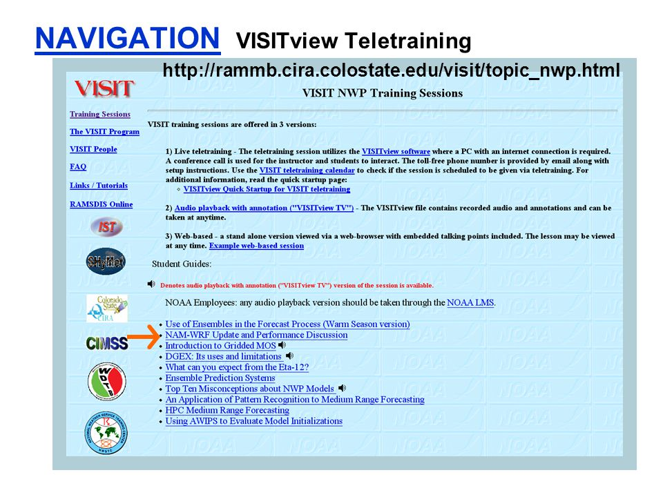 NAVIGATION VISITview Teletraining http://rammb.cira.colostate.edu/visit/topic_nwp.html
