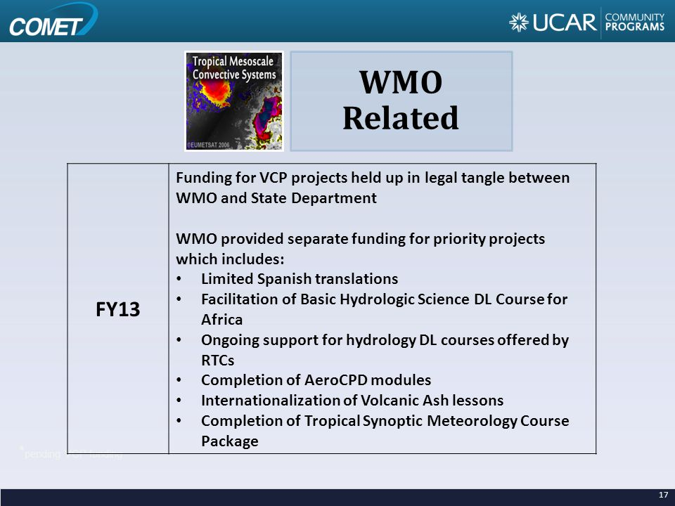 * pending VCP funding FY13 Funding for VCP projects held up in legal tangle between WMO and State Department WMO provided separate funding for priority projects which includes: Limited Spanish translations Facilitation of Basic Hydrologic Science DL Course for Africa Ongoing support for hydrology DL courses offered by RTCs Completion of AeroCPD modules Internationalization of Volcanic Ash lessons Completion of Tropical Synoptic Meteorology Course Package WMO Related 17