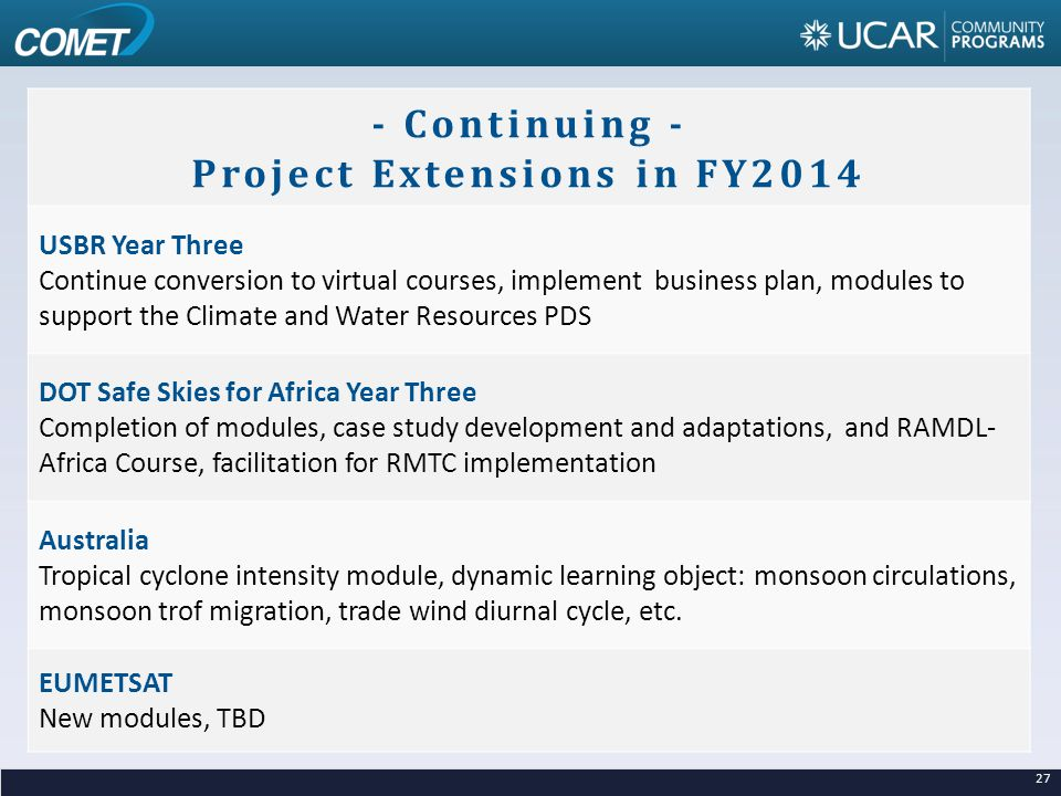 - Continuing - Project Extensions in FY2014 USBR Year Three Continue conversion to virtual courses, implement business plan, modules to support the Climate and Water Resources PDS DOT Safe Skies for Africa Year Three Completion of modules, case study development and adaptations, and RAMDL- Africa Course, facilitation for RMTC implementation Australia Tropical cyclone intensity module, dynamic learning object: monsoon circulations, monsoon trof migration, trade wind diurnal cycle, etc.
