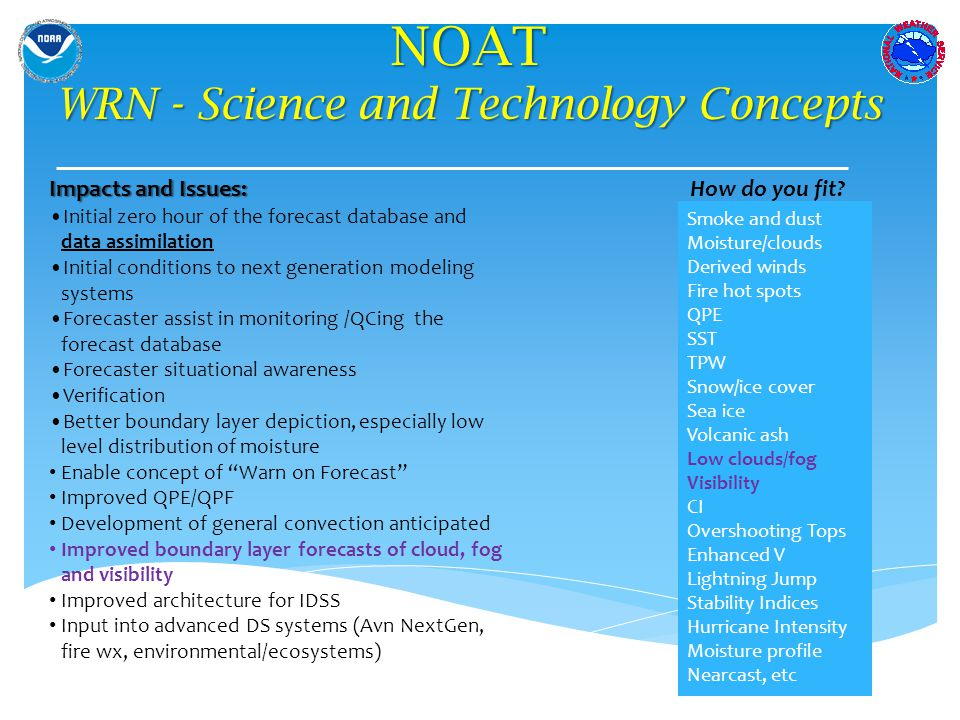NOAT WRN - Science and Technology Concepts Impacts and Issues: Initial zero hour of the forecast database and data assimilation Initial conditions to next generation modeling systems Forecaster assist in monitoring /QCing the forecast database Forecaster situational awareness Verification Better boundary layer depiction, especially low level distribution of moisture Enable concept of Warn on Forecast Improved QPE/QPF Development of general convection anticipated Improved boundary layer forecasts of cloud, fog and visibility Improved architecture for IDSS Input into advanced DS systems (Avn NextGen, fire wx, environmental/ecosystems) How do you fit.