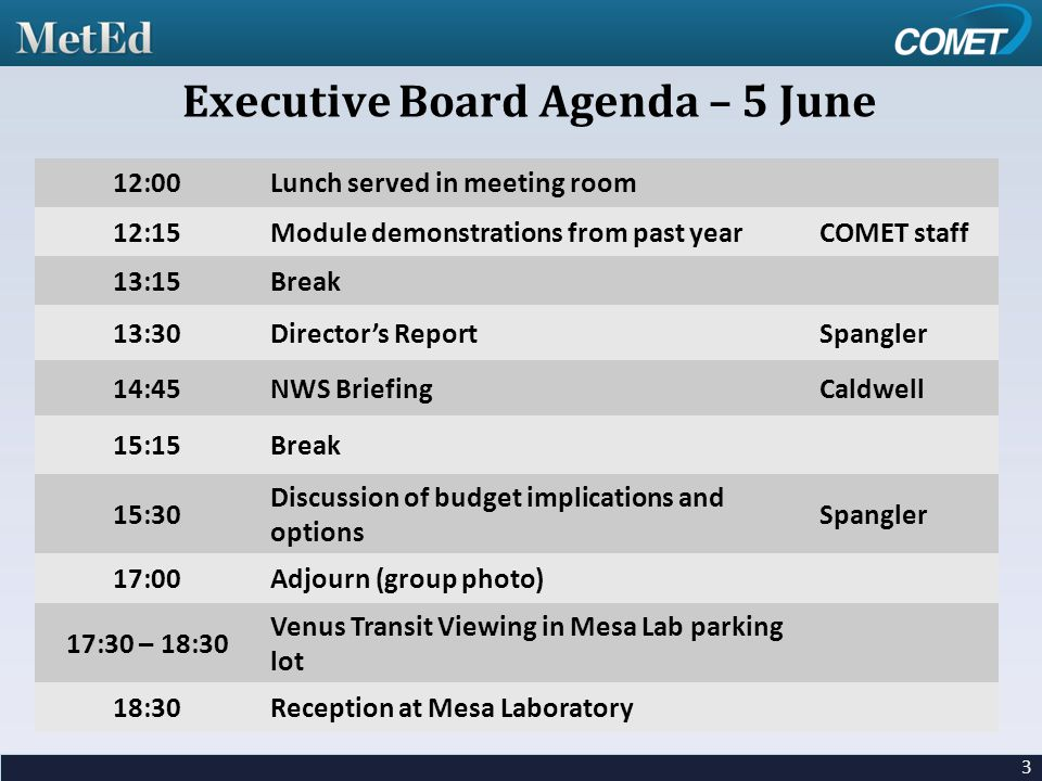 12:00Lunch served in meeting room 12:15Module demonstrations from past yearCOMET staff 13:15Break 13:30Director's ReportSpangler 14:45NWS BriefingCaldwell 15:15Break 15:30 Discussion of budget implications and options Spangler 17:00Adjourn (group photo) 17:30 – 18:30 Venus Transit Viewing in Mesa Lab parking lot 18:30Reception at Mesa Laboratory 3 Executive Board Agenda – 5 June