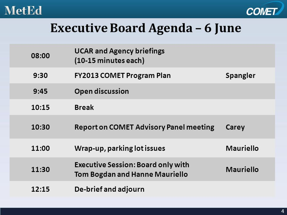 08:00 UCAR and Agency briefings (10-15 minutes each) 9:30FY2013 COMET Program PlanSpangler 9:45Open discussion 10:15Break 10:30Report on COMET Advisory Panel meetingCarey 11:00Wrap-up, parking lot issuesMauriello 11:30 Executive Session: Board only with Tom Bogdan and Hanne Mauriello Mauriello 12:15De-brief and adjourn 4 Executive Board Agenda – 6 June