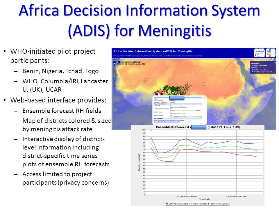 Africa Decision Information System (ADIS) for Meningitis WHO-initiated pilot project participants: – Benin, Nigeria, Tchad, Togo – WHO, Columbia/IRI, Lancaster U.