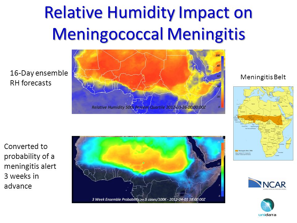 Relative Humidity Impact on Meningococcal Meningitis 16-Day ensemble RH forecasts Meningitis Belt Converted to probability of a meningitis alert 3 weeks in advance