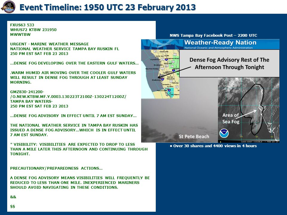 Event Timeline: 1950 UTC 23 February 2013 FXUS63 533 WHUS72 KTBW 231950 MWWTBW URGENT - MARINE WEATHER MESSAGE NATIONAL WEATHER SERVICE TAMPA BAY RUSK