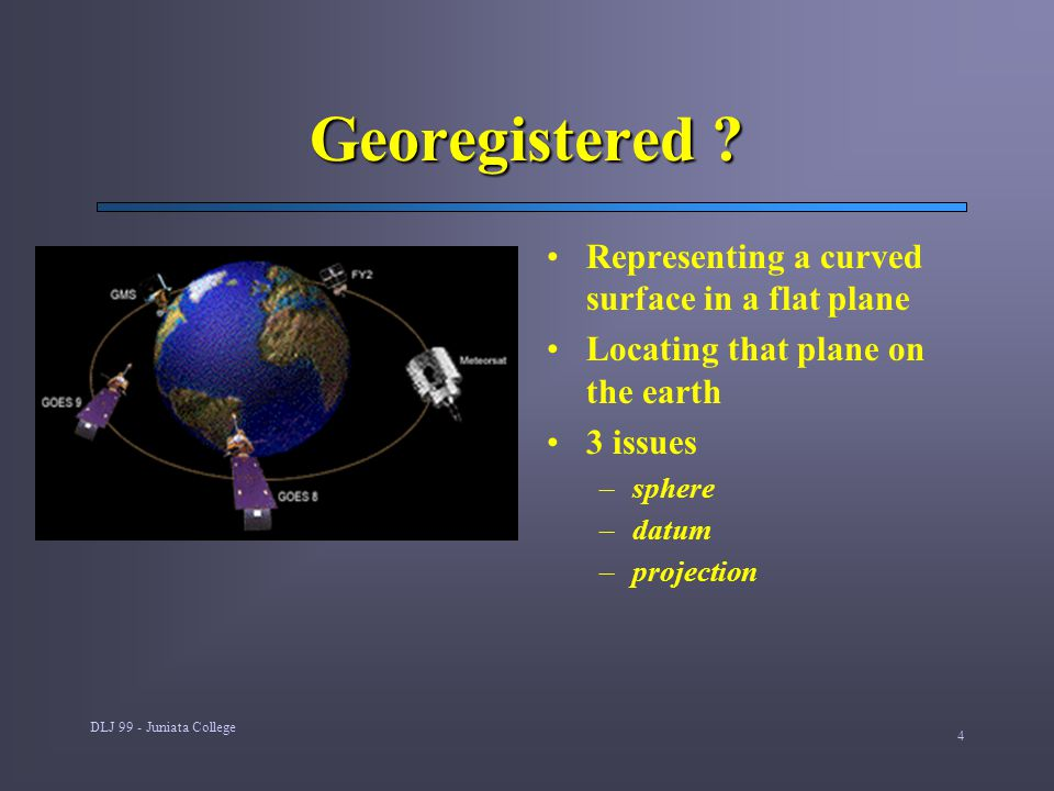 DLJ 99 - Juniata College 4 Georegistered ? Representing a curved surface in a flat plane Locating that plane on the earth 3 issues –sphere –datum –pro