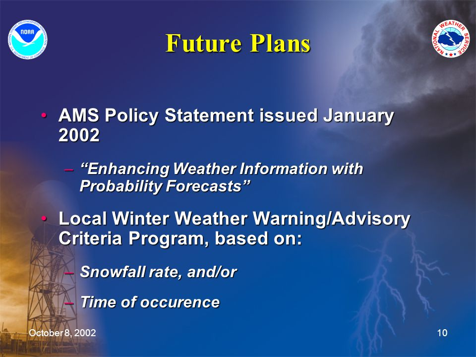 October 8, 200210 Future Plans AMS Policy Statement issued January 2002AMS Policy Statement issued January 2002 – Enhancing Weather Information with Probability Forecasts Local Winter Weather Warning/Advisory Criteria Program, based on:Local Winter Weather Warning/Advisory Criteria Program, based on: –Snowfall rate, and/or –Time of occurence