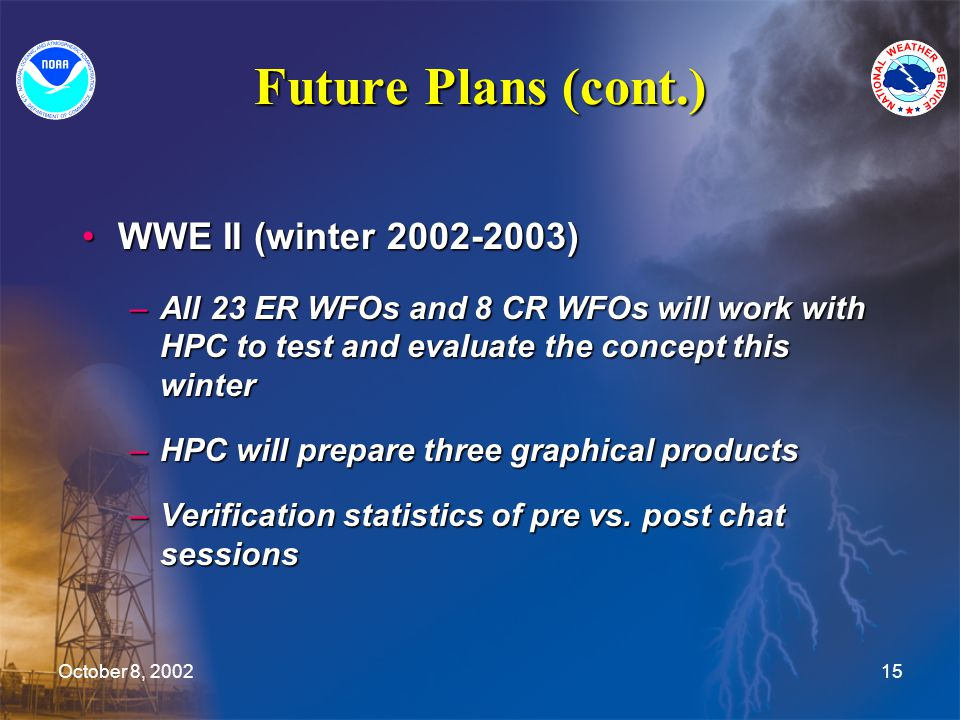 October 8, 200215 Future Plans (cont.) WWE II (winter 2002-2003)WWE II (winter 2002-2003) –All 23 ER WFOs and 8 CR WFOs will work with HPC to test and evaluate the concept this winter –HPC will prepare three graphical products –Verification statistics of pre vs.