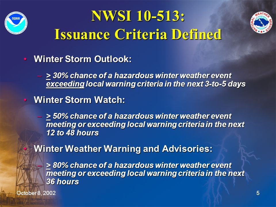 October 8, 20025 NWSI 10-513: Issuance Criteria Defined Winter Storm Outlook:Winter Storm Outlook: –> 30% chance of a hazardous winter weather event e
