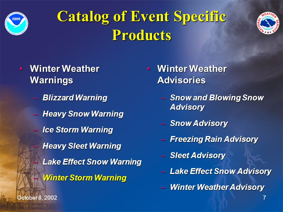 October 8, 20027 Catalog of Event Specific Products Winter Weather WarningsWinter Weather Warnings –Blizzard Warning –Heavy Snow Warning –Ice Storm Warning –Heavy Sleet Warning –Lake Effect Snow Warning –Winter Storm Warning Winter Weather Advisories –Snow and Blowing Snow Advisory –Snow Advisory –Freezing Rain Advisory –Sleet Advisory –Lake Effect Snow Advisory –Winter Weather Advisory