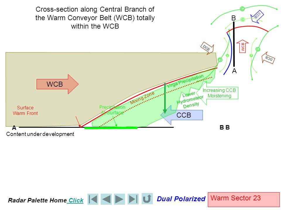 Radar Palette Home Click Dual Polarized Warm Sector 23 WCB Cross-section along Central Branch of the Warm Conveyor Belt (WCB) totally within the WCB C