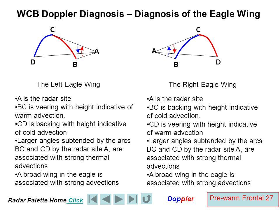 Radar Palette Home Click Doppler Pre-warm Frontal 27 WCB Doppler Diagnosis – Diagnosis of the Eagle Wing A The Right Eagle Wing A is the radar site BC