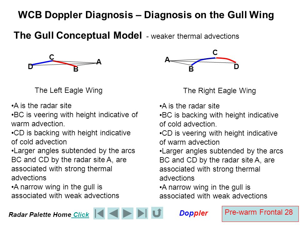Radar Palette Home Click Doppler Pre-warm Frontal 28 WCB Doppler Diagnosis – Diagnosis on the Gull Wing A The Right Eagle Wing A is the radar site BC