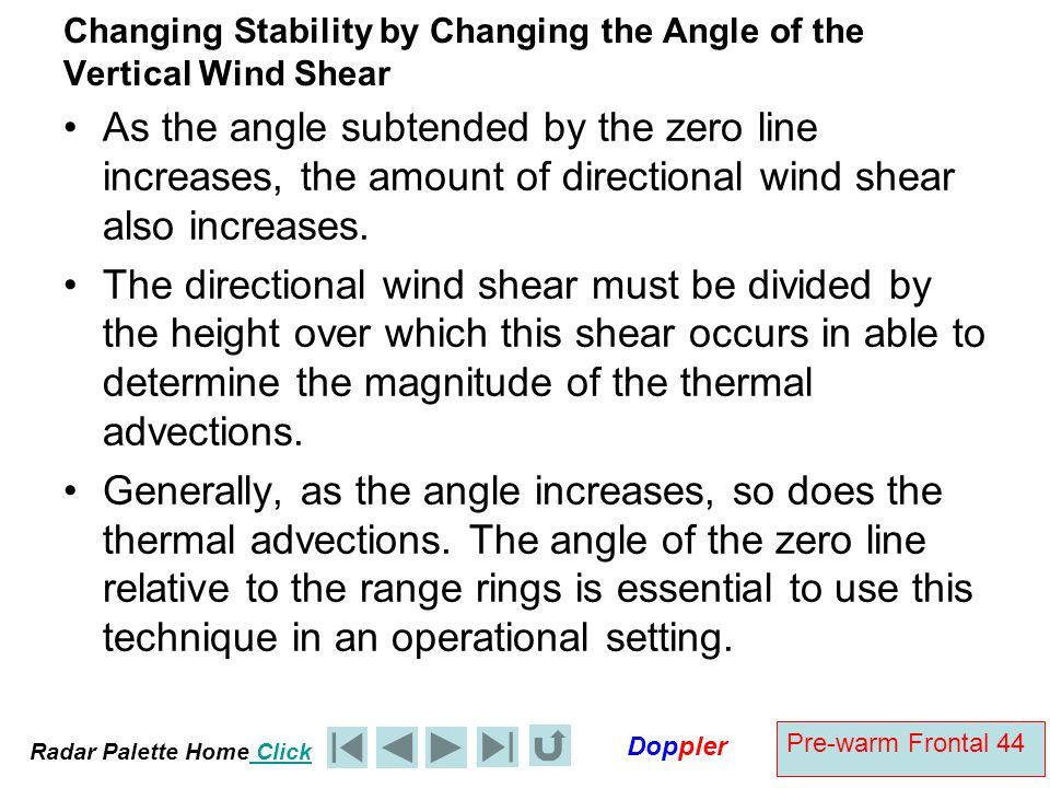 Radar Palette Home Click Doppler Pre-warm Frontal 44 Changing Stability by Changing the Angle of the Vertical Wind Shear As the angle subtended by the