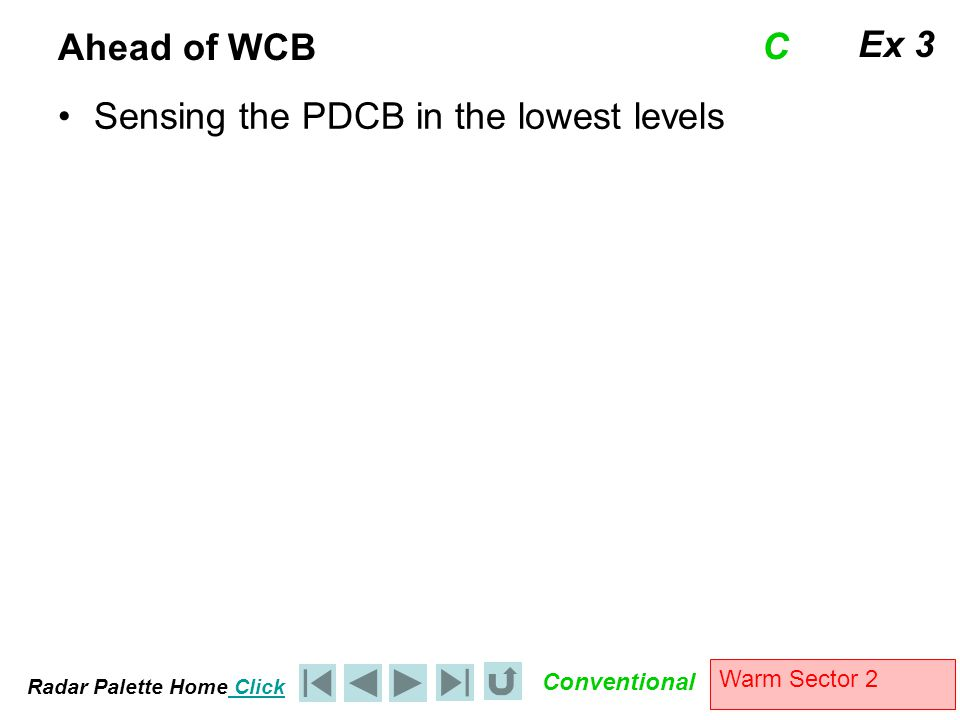 Radar Palette Home Click Conventional Warm Sector 2 Ahead of WCB Sensing the PDCB in the lowest levels Ex 3 C