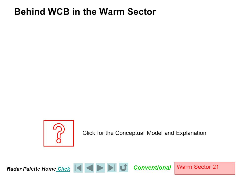 Radar Palette Home Click Conventional Warm Sector 21 Behind WCB in the Warm Sector Click for the Conceptual Model and Explanation