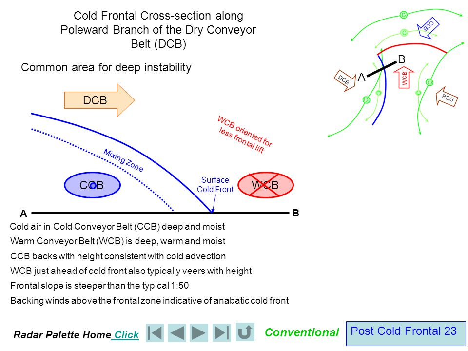 Radar Palette Home Click Conventional Post Cold Frontal 23 DCB Cold Frontal Cross-section along Poleward Branch of the Dry Conveyor Belt (DCB) Cold air in Cold Conveyor Belt (CCB) deep and moist Warm Conveyor Belt (WCB) is deep, warm and moist CCB backs with height consistent with cold advection Mixing Zone Surface Cold Front Frontal slope is steeper than the typical 1:50 WCB oriented for less frontal lift Common area for deep instability A B A B WCB just ahead of cold front also typically veers with height WCB CCB Backing winds above the frontal zone indicative of anabatic cold front