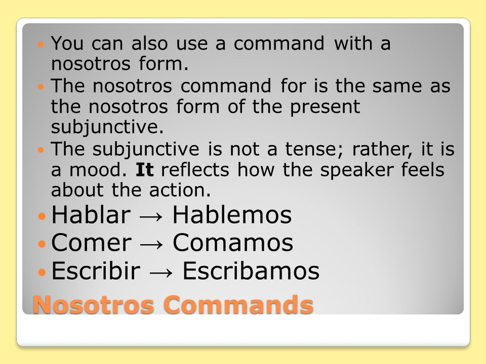 Ud. and Uds. Commands Attach pronouns to affirmative commands.