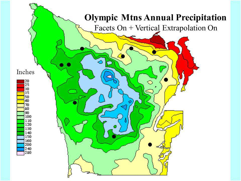 Olympic Mtns Annual Precipitation Facets On + Vertical Extrapolation On Inches