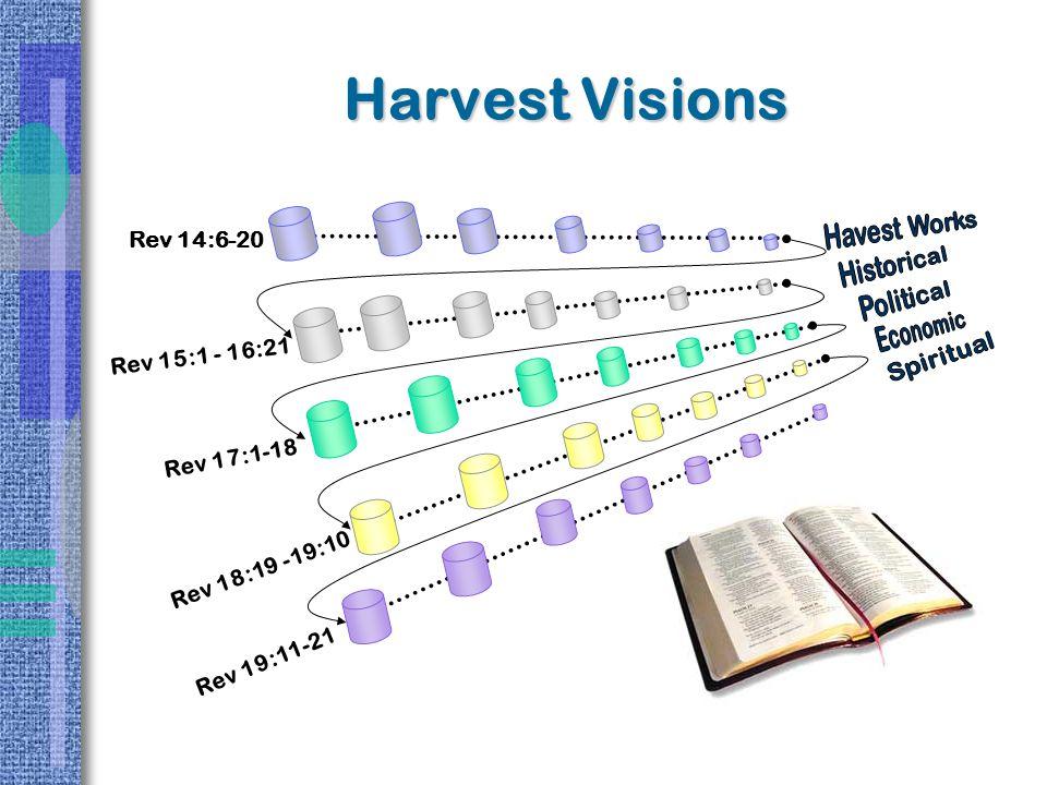 Harvest Visions Rev 14:6-20 Rev 15:1 - 16:21 Rev 17:1-18 Rev 18:19 -19:10 Rev 19:11-21