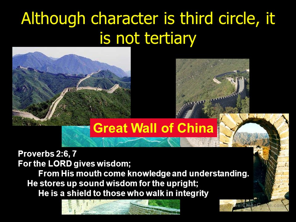 Although character is third circle, it is not tertiary Great Wall of China Proverbs 2:6, 7 For the LORD gives wisdom; From His mouth come knowledge an