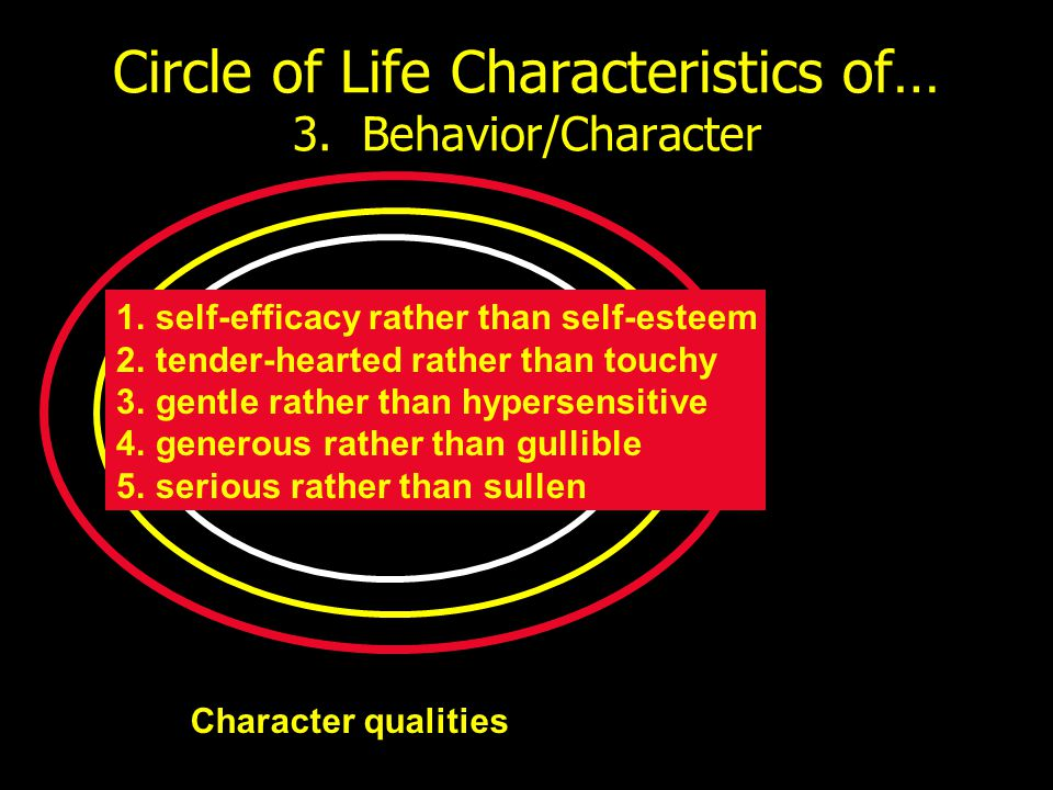 Circle of Life Characteristics of… 3. Behavior/Character Character qualities 1.self-efficacy rather than self-esteem 2.tender-hearted rather than touc