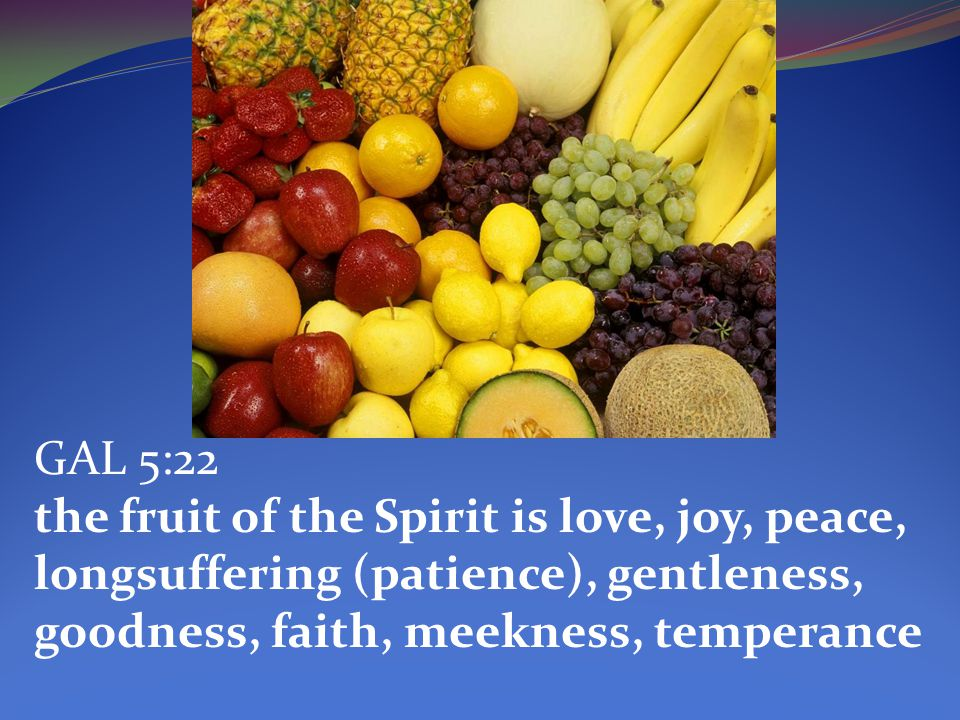 GAL 5:22 the fruit of the Spirit is love, joy, peace, longsuffering (patience), gentleness, goodness, faith, meekness, temperance