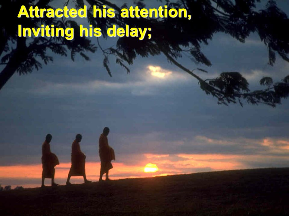 Attracted his attention, Inviting his delay;