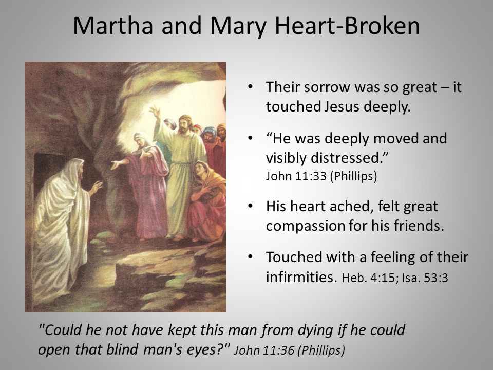 Martha and Mary Heart-Broken Their sorrow was so great – it touched Jesus deeply.
