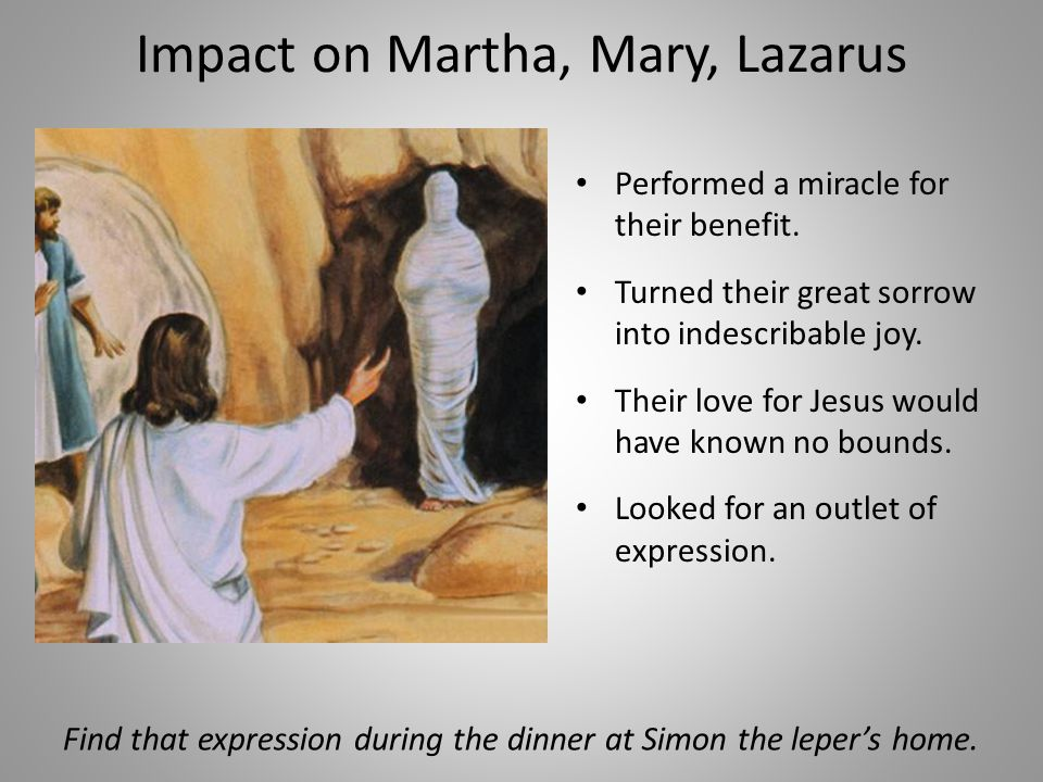 Impact on Martha, Mary, Lazarus Performed a miracle for their benefit.