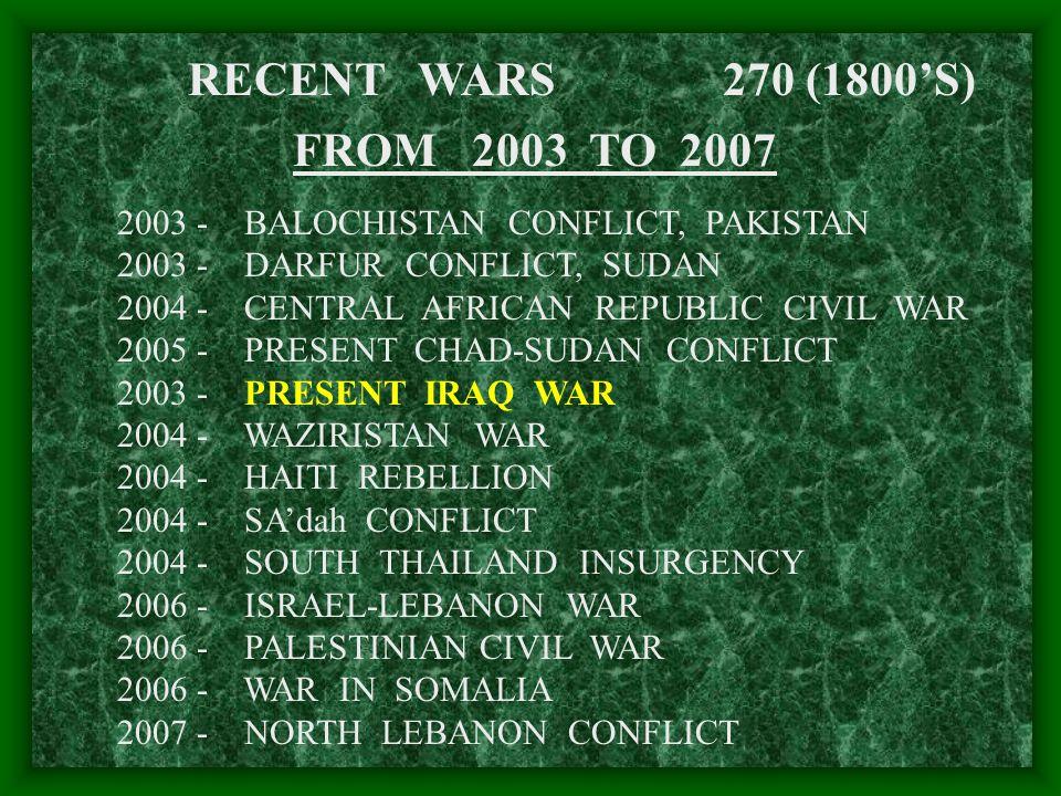 270 (1800'S)RECENT WARS FROM 2003 TO 2007 2003 - BALOCHISTAN CONFLICT, PAKISTAN 2003 - DARFUR CONFLICT, SUDAN 2004 - CENTRAL AFRICAN REPUBLIC CIVIL WAR 2005 - PRESENT CHAD-SUDAN CONFLICT 2003 - PRESENT IRAQ WAR 2004 - WAZIRISTAN WAR 2004 - HAITI REBELLION 2004 - SA'dah CONFLICT 2004 - SOUTH THAILAND INSURGENCY 2006 - ISRAEL-LEBANON WAR 2006 - PALESTINIAN CIVIL WAR 2006 - WAR IN SOMALIA 2007 - NORTH LEBANON CONFLICT