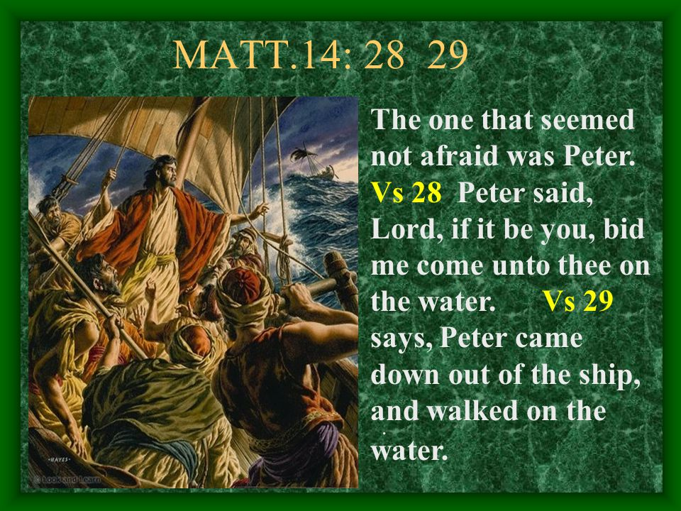 MATT.14: 28 29 The one that seemed not afraid was Peter.