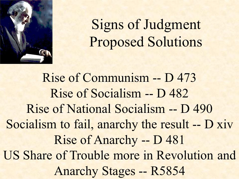 Rise of Communism -- D 473 Rise of Socialism -- D 482 Rise of National Socialism -- D 490 Socialism to fail, anarchy the result -- D xiv Rise of Anarchy -- D 481 US Share of Trouble more in Revolution and Anarchy Stages -- R5854 Signs of Judgment Proposed Solutions